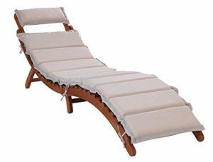 Sonnenliege RASSO ♥ Klappbar ♥ Eukalyptusholz ♥ Holzliege RASSO für einen bequemen Sitz auf der Terrasse, Balkon & im Garten  aus Eukalyptusholz