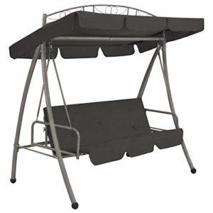 vidaXL Hollywoodschaukel Dach Bettfunktion ♥  Lieferung umfasst auch 1 großes Kissen und 1 Sonnendach