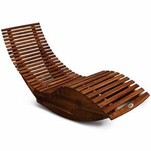Deuba Schwungliege ♥ Diese robuste Sonnenliege aus Akazienholz zeichnet sich durch Ihre ergonomische Form und einzigartigen Wippfunktion aus.
