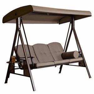 SORARA Hollywoodschaukel 3-sitzer ♥ Ideal für Balkon ,Terrasse und Garten.