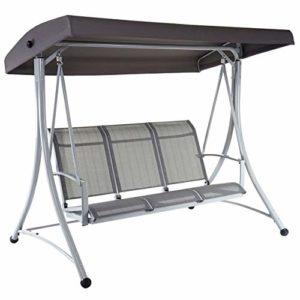 Mendler Hollywoodschaukel HWC-D62, 3-Sitzer ♥ Stabiles Metallgestell ♥ - Verstellbares Dach ♥3-Sitzer