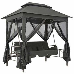 vidaXL Hollywoodschaukel mit Dach und Bettfunktion ♥ Im Lieferumfang sind auch zwei rechteckige Kissen und zwei zylindrische Kissen enthalten, die zusätzlichen Komfort bieten.