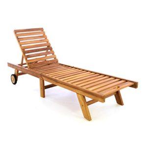 Divero GL05654 Sonnenliege ♥ Divero klappbare Sonnenliege aus behandeltem Teak-Holz mit gummiummantelten Rädern und verstellbarer Rückenlehne