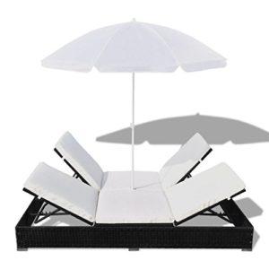 Festnight Sonnenliege ♥ Diese hochwertige Rattan-Sonnenliege für 2 Personen überzeugt mit einer perfekten Kombination aus Stil und Funktionalität.