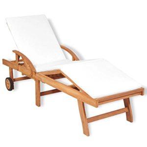 Festnight Sonnenliege ♥ Diese klassische Sonnenliege aus Teakholz im attraktiven Holzstreben-Design bringt einen rustikalen Touch in deinen Garten.