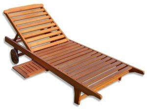 KMH Gartenliege aus massivem Eukalyptusholz ♥ Wunderschöne Sonnenliege aus massivem Eukalyptusholz und einem ausziehbarem Tisch