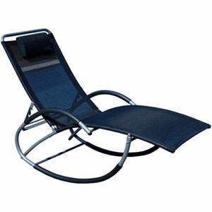 ASS Liegestuhl Schwingstuhl ♥ Freuen Sie sich auf relaxte Stunden in dem Schaukelliegestuhl KRETA  ♥ Rückenlehne 5-fach verstellbar mit Kopfpolster