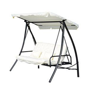 Outsunny Hollywoodschaukel  mit Liege-Funktion, 3 Sitzer ♥ Outsunny Hollywoodschaukel mit Liegefunktion in weiß. Lehne dich zurück und genieß die sonnigen Stunden in deinem Garten.