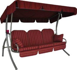Angerer Ibiza Hollywoodschaukel Faro, Rot, 3-Sitzer  ♥ Die Auflage enthält neben den Wendekissen auch passende Seitenkissen, sowie eine Unterlage mit Volant