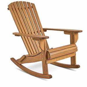 VonHaus Schaukelstuhl ♥ Outdoor Gartenmöbel aus Akazie ♥ Die abgeschrägten Latten an der Rückenlehne sind bequem und haltbar.