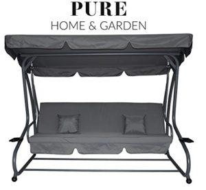 Pure Home & Garden 4-Sitzer XXL Hollywoodschaukel mit Liegefunktion ♥ Pure Home & Garden 4-Sitzer XXL Hollywoodschaukel mit Liegefunktion