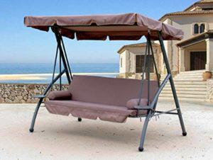 QUICK STAR Hollywoodschaukel 3 Sitzer Klappbar mit Liegefunktion ♥ 3-sitzig mit abklappbarer Rückenlehne zum Bett