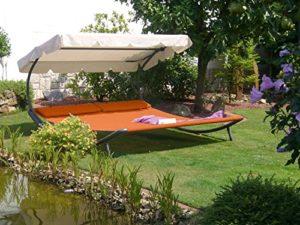Solax-Sunshine Doppel Gartenliege terrakotta ♥ Solax-Sunshine Doppel-Gartenliege terrakotta wetterfeste, strapazierfähige Bespannung verstellbares Sonnenschutzdach seitliche Transporträder